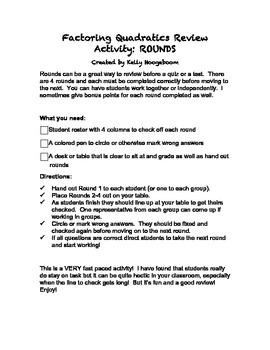 Factoring Quadratics Review Activity