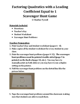 Factoring Quadratics with a Leading Coefficient of 1 Scavenger Hunt Game
