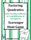 Factoring Quadratics with a Leading Coefficient of 1 and DOTS Scavenger Hunt