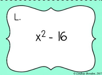 Factoring Quadratics Task Cards
