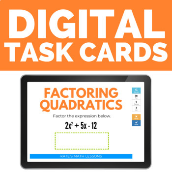 Factoring Quadratics Task and Boom Cards (leading coefficient not 1)
