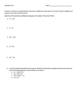 Factoring Quadratics Test