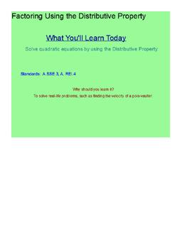 Factoring Quadratics Using the Distributive Property SmartBoard Lesson
