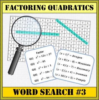 Factoring Quadratics Word Search #3