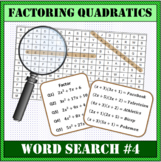 Factoring Quadratics Word Search #4