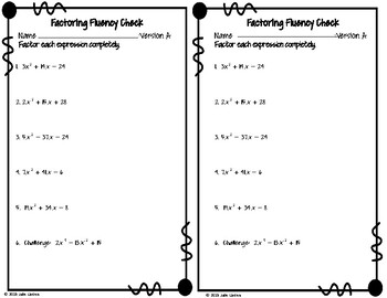Factoring Quadratics, a is prime Fluency Check : No Prep Fluent in Math Series