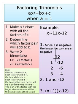 Factoring Quadratics and trinomials Guided Notes/Graphic Organizer