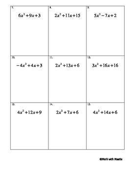 Factoring Quadratics (using the a/c method)