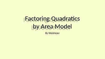 Factoring Quadratics with Area Models