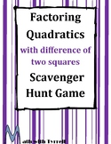 Factoring Quadratics with Difference of Two Squares Scavenger Hunt Game