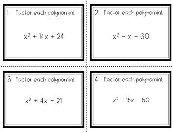 Factoring Quadratics - x^2 + bx + c = 0 Task Cards