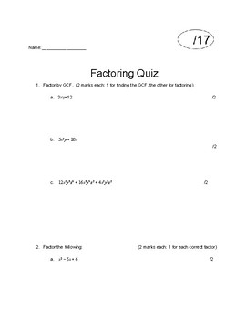 Factoring Quiz By Pi In The Sky Math Resources Tpt