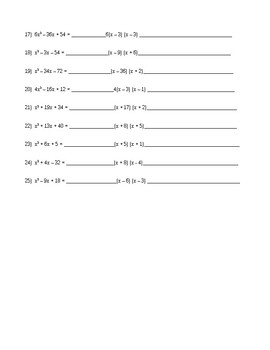Factoring Quiz A = 1 and Special Patterns