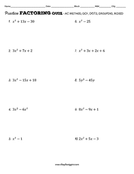 Factoring Quiz (Practice Quiz included)