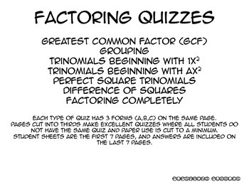 Factoring Quizzes - PP