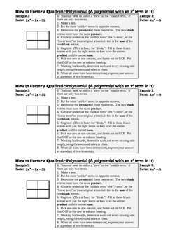 Factoring Review Day 3 for Geometry Students Spring 2014 Notes (Editable)