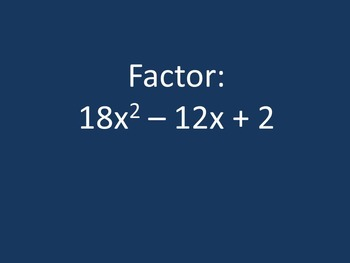 Factoring Review Game