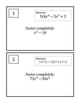 Factoring Scavenger Hunt: GCF, Difference of Squares, Sum & Difference of Cubes