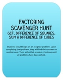 Factoring Scavenger Hunt: GCF, Difference of Squares, Sum