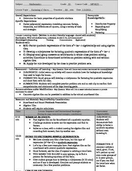Factoring Simple Quadratic Expressions Lesson Plan
