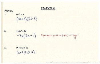 Factoring & Solving Quadratics Stations (Answer Key)