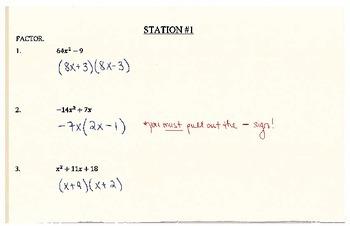 Factoring & Solving Quadratics Stations (Answer Key)