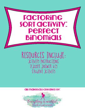 Factoring Sort Activity: Perfect Binomials