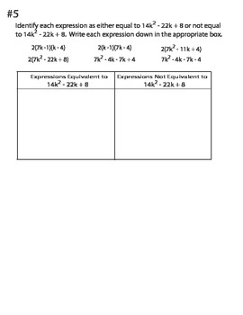 Factoring Sorting in Common Core Style - Trinomials