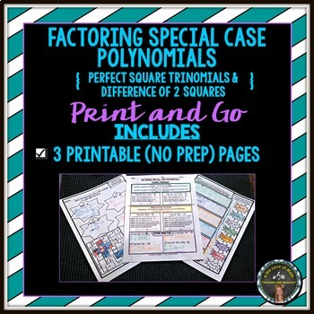 Factoring Special Case Polynomials Print and Go by 4 the Love of Math