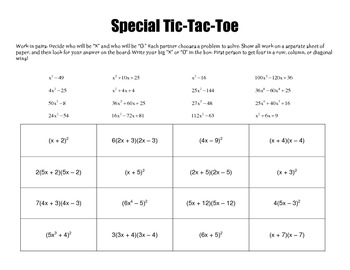 Factoring Special Case Quadratics By Wild About Math Tpt