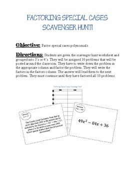 Factoring Special Cases Scavenger Hunt By Thinkingnumbers Tpt
