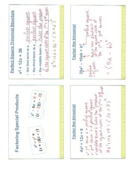 Factoring Special Products Flipped Video Lesson and Notes Template