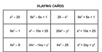 Factoring Special Products Four in a Row Game