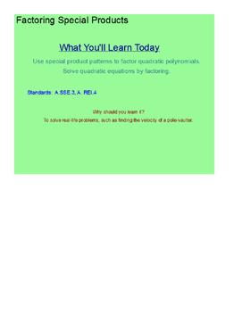 Factoring Special Products Quadratics SmartBoard Lesson