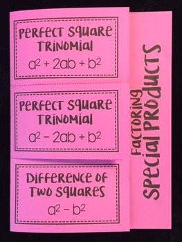 Factoring Special Products of Polynomials (Algebra Foldable)