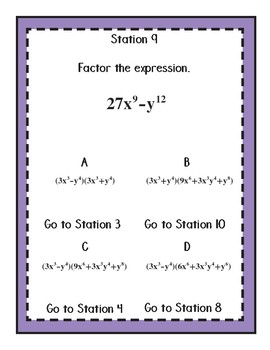 Factoring Special Quadratics Stations Maze: Differences of Perfect Squares/Cubes