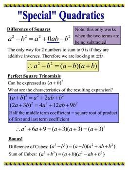 Factoring Speical Quadratics