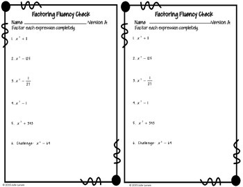 Factoring Sum & Difference of Cubes Fluency Check : No Prep Fluent in Math