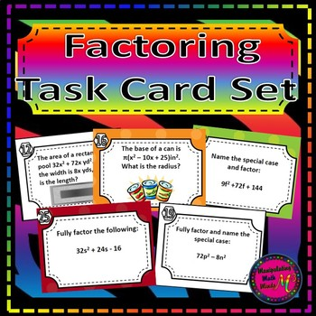 Factoring Task Card Set - Great unit or STAAR Review