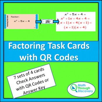 Algebra 1 and 2:  Factoring Task Cards with QR Codes