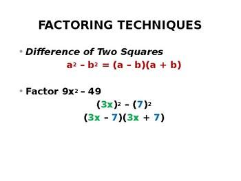 Factoring Techniques