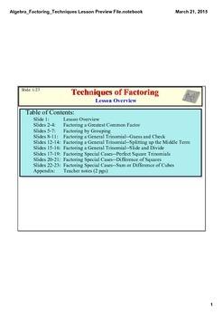 Factoring Techniques Lesson