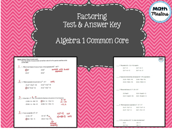 Factoring Test and Answer Key