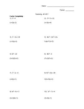 Factoring Tests! (set #1)