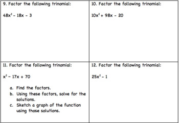 Factoring Trinomial Card Game
