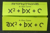 Factoring Trinomials (Foldable)