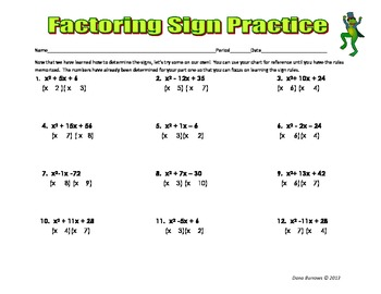 Factoring Trinomial Notes - Basic Introductory Notes on Signs with Practice