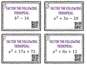 Factoring Trinomial QR Task Cards