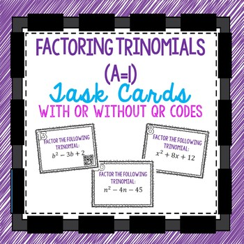 Factoring Trinomial QR Task Cards
