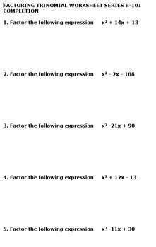 Factoring Trinomial Worksheets 10 Pack